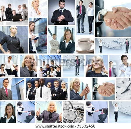 Business collage made of many different pictures about finances, time, money, real estate and corporative relations