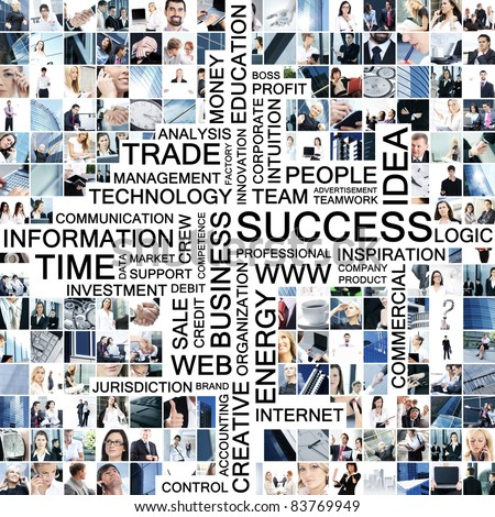Business collage made of many different pictures with text - stock photo