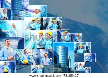 Business collage of many business images - stock photo