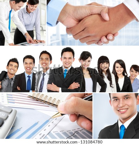 Business collage of teamwork and asian business people - stock photo