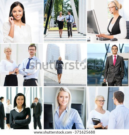 Business collage. Set of photos about communication and office workers.