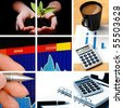 business collage showing concept of finance and success - stock photo