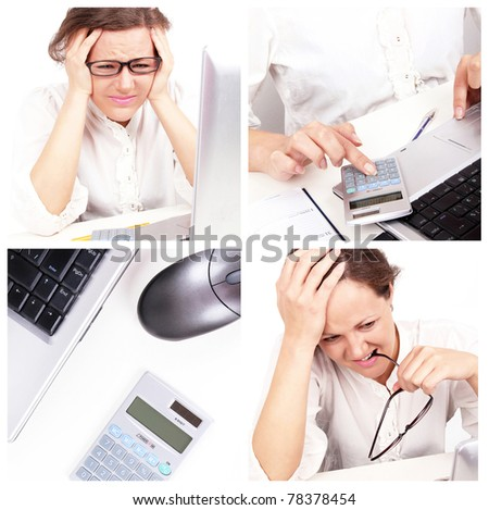 Business collage with depressed businesswoman - stock photo