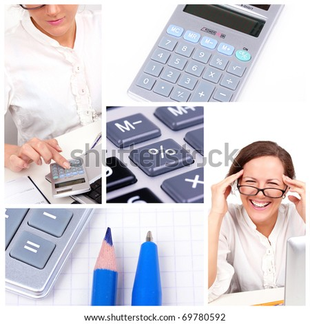 Business collage with happy businesswoman - stock photo
