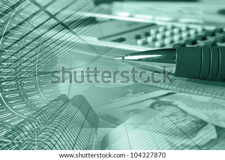 Business collage with money, ruler, pen and calculator, in greens. - stock photo