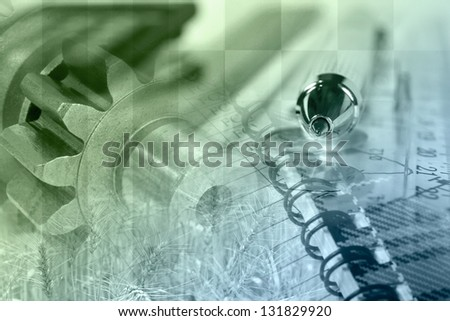 Business collage with pen, ruler and gears, in greens and blues. - stock photo