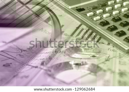 Business collage with pen, ruler and graph, in green and pink. - stock photo