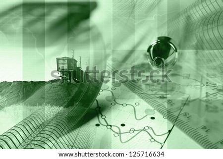 Business collage with pen, ruler and graph, in greens. - stock photo