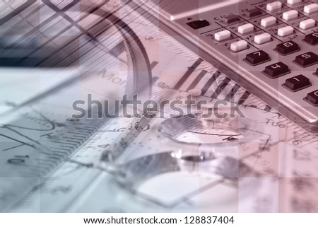 Business collage with pen, ruler and graph, red toned. - stock photo