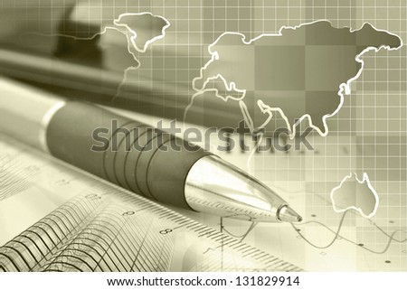 Business collage with pen, ruler and map, sepia toned. - stock photo