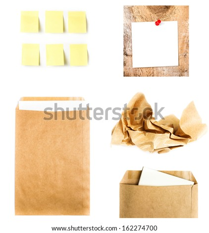 Business collage with recycled paper letter envelope, sticky notes and  crumpled craft  paper isolated on white background. High resolution. - stock photo
