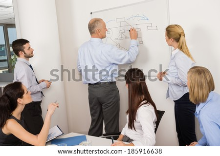 Business colleagues discussing strategy on whiteboard in meeting - stock photo
