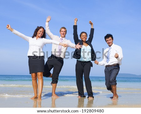 Business Colleagues having fun on Vaccation. - stock photo