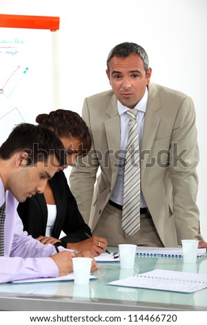 business colleagues on a vocational training - stock photo