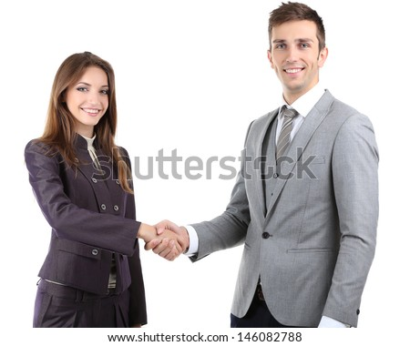 Business colleagues shaking hands isolated on white - stock photo