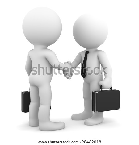 Business colleagues shaking hands. Isolated on white background - stock photo