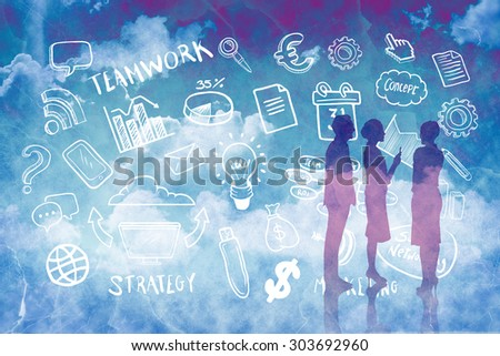 Business colleagues talking against painted sky - stock photo