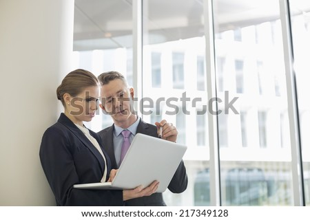 Business colleagues using laptop in office - stock photo