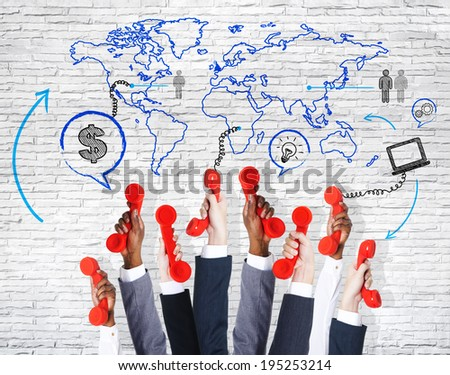 Business communation arms raised with telephone and world map. - stock photo