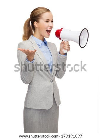 business, communication and office concept - smiling businesswoman with megaphone