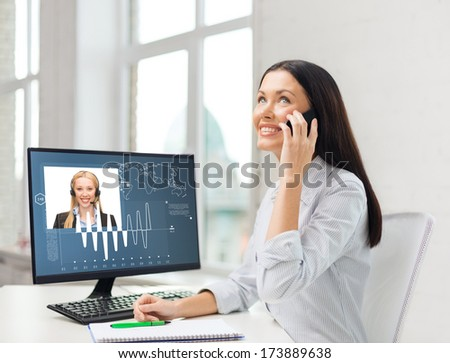 business, communication and technology concept - smiling businesswoman or student with smartphone talking - stock photo