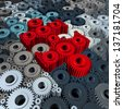 Business communication concept with a group of three dimensional gears and cogs shaped as jigsaw puzzle pieces connected together as a strong working partnership. - stock photo