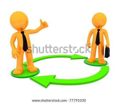 Business communication. Conceptual illustration. Isolated on white background - stock photo