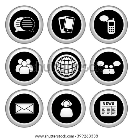 Business & Communication Icons Silver Icon Set. Raster Version - stock photo