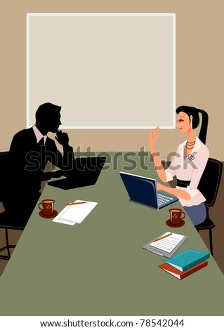 Business communication in office between a businessman and a businesswoman, with conference room as background - stock photo