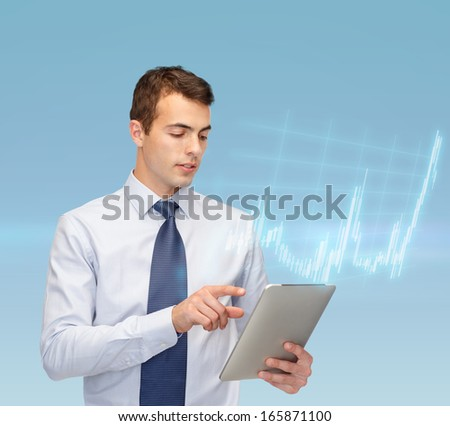 business, communication, modern technology, money and office concept - buisnessman with tablet pc and forex chart - stock photo