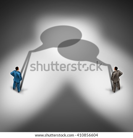 Business communication network as a word bubble shadow group connecting together talking and having an exchange of ideas as a  two businesspeople in a conversation in a 3D illustration style.