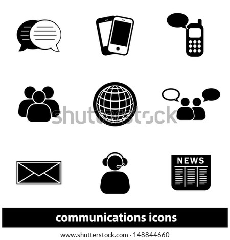 Business Communications Icon Set. Raster version, vector also available.