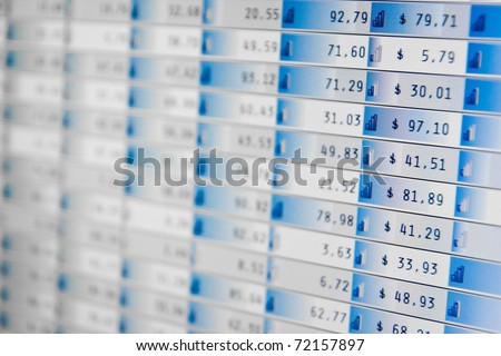 Business company financial balanceStock Quotes at real time at the stock exchange - stock photo