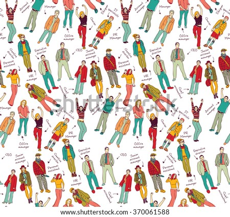 Business company team people with post color seamless pattern. Color illustration.  - stock photo