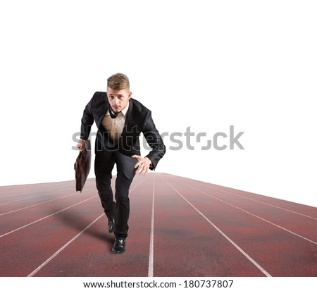 Business competition with running businessman in the racetrack