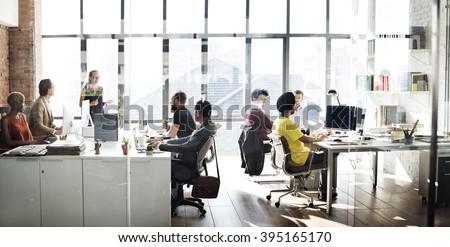 Business Computer Communication Teamwork Concept - stock photo