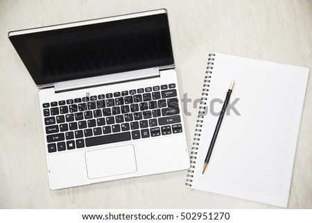 Business concept and notebook for memory. Home office with lifestyle and slow life in free day. Working with notebook for memory job or planning. Trader document work and business plan.