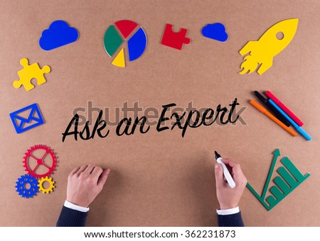 Business Concept-Ask an Expert phrase with colorful icons