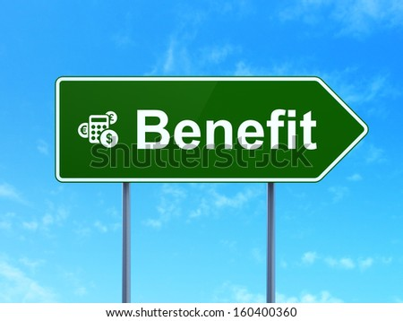Business concept: Benefit and Calculator icon on green road (highway) sign, clear blue sky background, 3d render