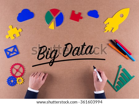 Business Concept-Big Data word with colorful icons - stock photo