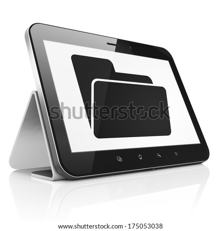 Business concept: black tablet pc computer with Folder icon on display. Modern portable touch pad on White background, 3d render - stock photo