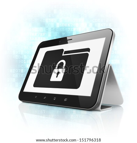 Business concept: black tablet pc computer with Folder With Lock icon on display. Modern portable touch pad on Blue Digital background, 3d render - stock photo