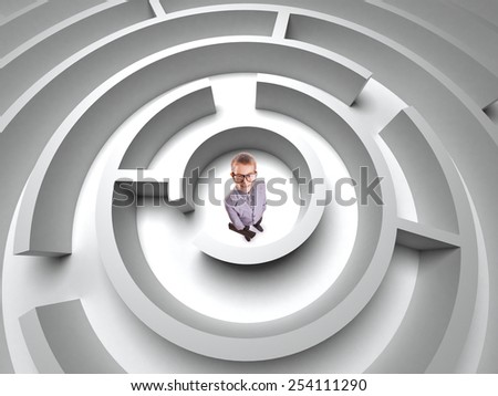 business concept. boy in  3D maze - stock photo