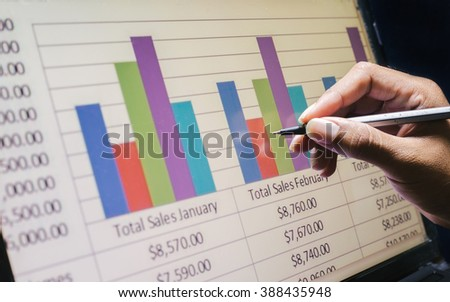 Business concept, Business graph analysis report. Accounting, Stock, Tone color