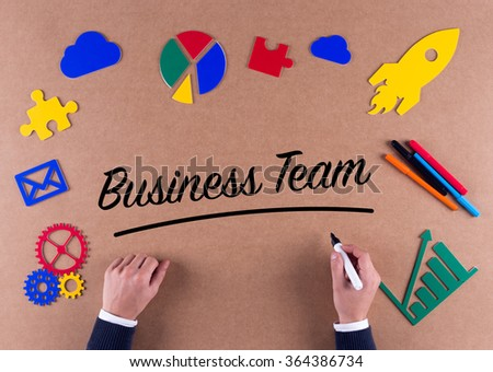Business Concept-Business Team word with colorful icons - stock photo