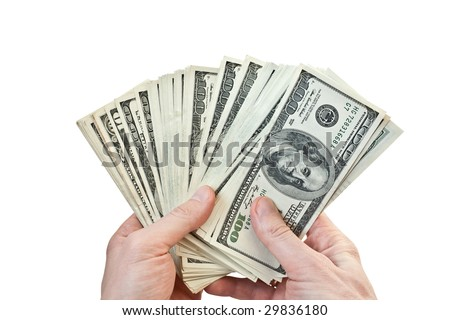 business concept. businessman counting money in hands