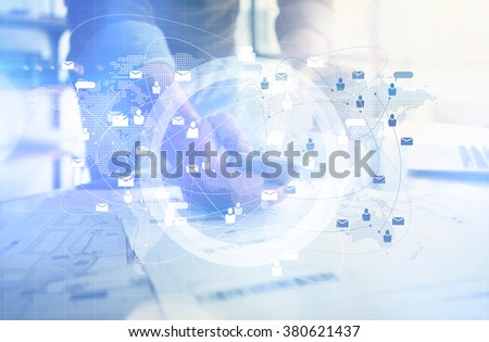 Business concept. Businessman holding in hands smartphone.  Worldwide connection technology interface. Blurred, horizontal mockup.