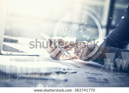 Business concept. Businessman working generic design laptop. Touching screen smartphone. Worldwide connection technology interface.  - stock photo