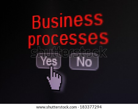 Business concept: buttons yes and no with pixelated word Business Processes and Hand cursor on digital computer screen, selected focus 3d render - stock photo