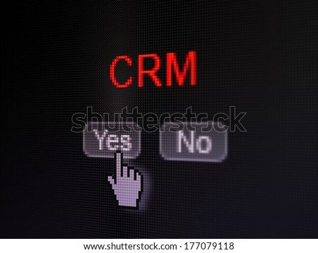 Business concept: buttons yes and no with pixelated word CRM and Hand cursor on digital computer screen, selected focus 3d render - stock photo